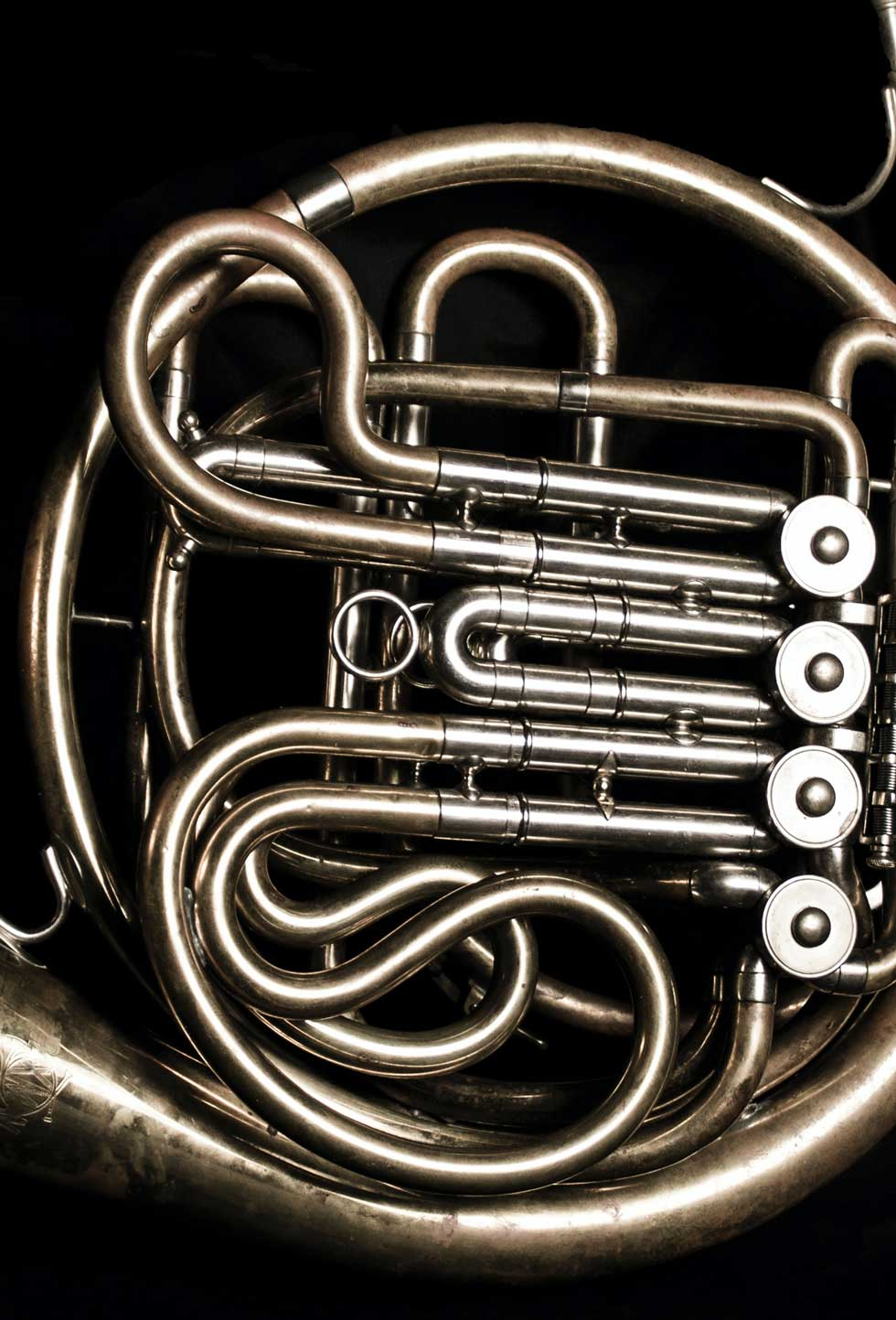 french horn on black background